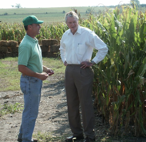 Wayne Benson and Tom Osborne at Benson Farms